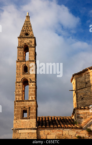 The church of Aghios Spyridon, with its impressive bell tower in Palia ('Old') Kardamyli, Messinian Mani, Peloponnese, - Stock Photo