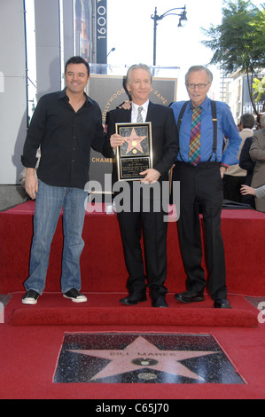 Seth MacFarlane, Bill Maher, Larry King at the induction ceremony for Star on the Hollywood Walk of Fame Ceremony - Stock Photo