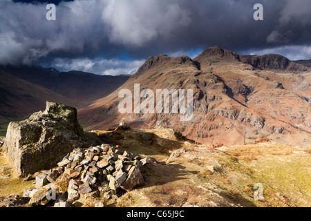 The Langdale Pikes under heavy skies. - Stock Photo