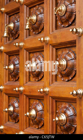 Door at the Sri Mariamman Temple, South Bridge Road, Chinatown, Singapore - Stock Photo