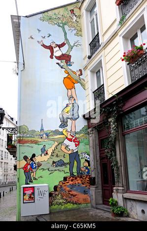 Brussels, Belgium. Cartoon Mural (by 'Art Mural') - Stock Photo