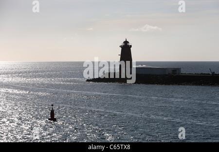 Poolbeg lighthouse Dublin - Stock Photo