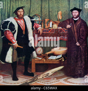 The Ambassadors by Hans Holbein the Younger. - Stock Photo