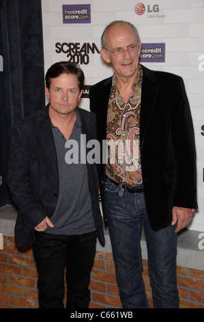 Michael J. Fox, Christopher Lloyd at arrivals for Spike TV's SCREAM 2010, Greek Theatre, Los Angeles, CA October - Stock Photo