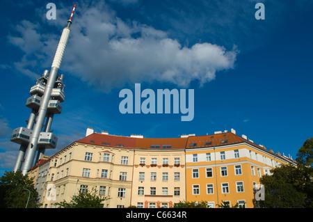 Skroupovo namesti square with Zizkovska vez the Television tower in Zizkov district Prague Czech Republic Europe - Stock Photo