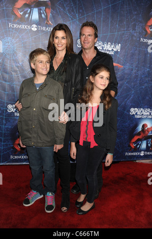 Presley Gerber, Kaya Gerber, Cindy Crawford, Randy Gerber in attendance for Spider-Man: Turn Off The Dark Opening - Stock Photo