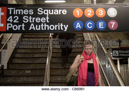 Manhattan New York City NYC NY Midtown MTA New York City Subway rapid transit system Times Square Station Port Authority - Stock Photo