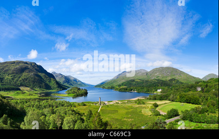 Loch Shiel with the Glenfinnan Monument in the centre, Glenfinnan, Lochabar, Scotland. Scottish landscape / landscapes. - Stock Photo