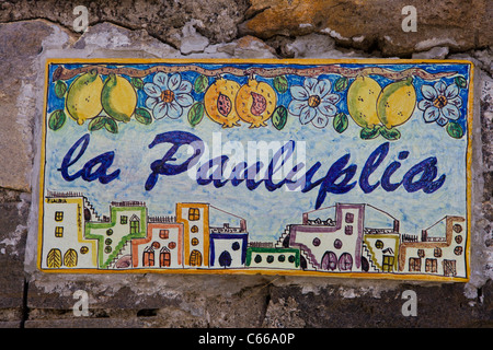 Ceramic painting in a street of Lipari in Sicily (Aeolian Islands in Italy),Mediterranean coast, Europe, EU. - Stock Photo