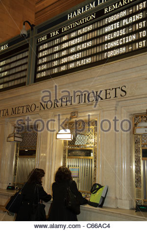 Manhattan New York City NYC NY Midtown 42nd Street Grand Central Station railroad train terminal interior ticket - Stock Photo