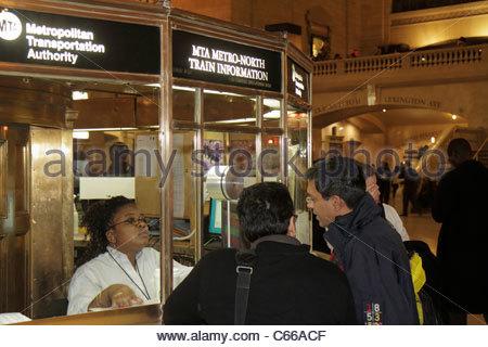 Manhattan New York City NYC NY Midtown 42nd Street Grand Central Station railroad train terminal information window - Stock Photo