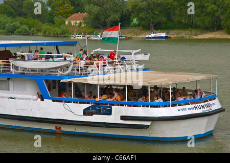 Ferry heading to Budapest at Mahart ferry pier central Szentendre town in the Danube bend Hungary Europe - Stock Photo