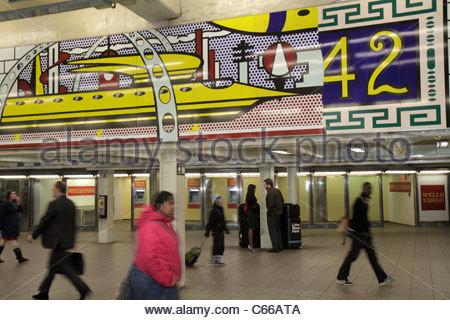 Manhattan New York City NYC NY Midtown MTA New York City Subway rapid transit system Times Square Station A C E - Stock Photo