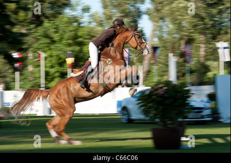 Zifa Sefman on horse Cornetto 6 jumps over hurdle during 6 bar competition at Grand Prix Bratislava on August 13, - Stock Photo