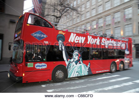 Manhattan New York City NYC NY Midtown 5th Fifth Avenue sightseeing bus double-decker Gray Line guided tour street - Stock Photo
