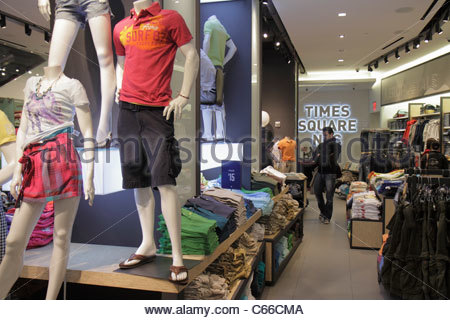 Manhattan New York City NYC NY Midtown Times Square shopping Aéropostale store business chain clothing retailer - Stock Photo
