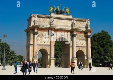 The Arc du Triomphe du Carrousel Victory in Paris France - Stock Photo