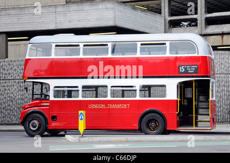 Side view of London Transport public transport red double decker classic historic Routemaster bus & staircase on - Stock Photo