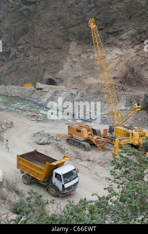 building site of a new hydropower plant near wangdue. Bhutan - Stock Photo