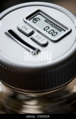 Empty Digital Money Counting Pot with a reading in Euros € - Stock Photo