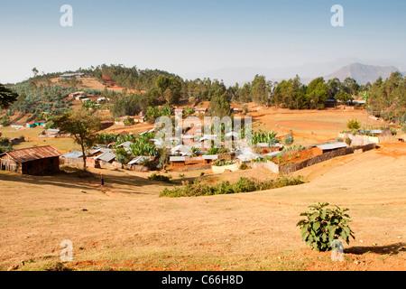 Scenery around Chencha near  Arba Minch in the Omo Valley, Southern Ethiopia, Africa. - Stock Photo