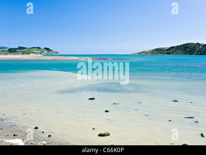 The Beautiful Turquoise Tasman Sea and Golden Sandy Beaches From Raglan Towards Manu Bay Waikato North Island New - Stock Photo