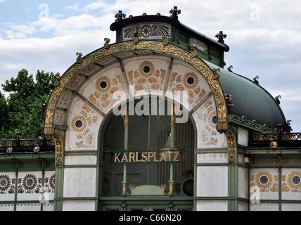 Art Nouveau city railway station Karlsplatz, 1899, by Otto Wagner, Vienna, Austria, Europe - Stock Photo
