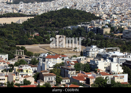 Athens Temple of Olympian Zeus in Greece - Stock Photo