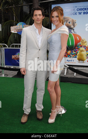 James Marsden, Lisa Linde at arrivals for HOP Premiere, Universal CityWalk, Los Angeles, CA March 27, 2011. Photo - Stock Photo