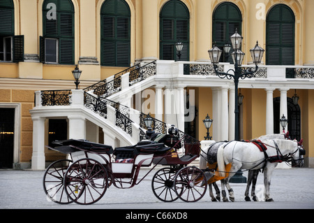 Horse and carriage in front of Schoenbrunn Palace, Vienna, Austria, Europe - Stock Photo