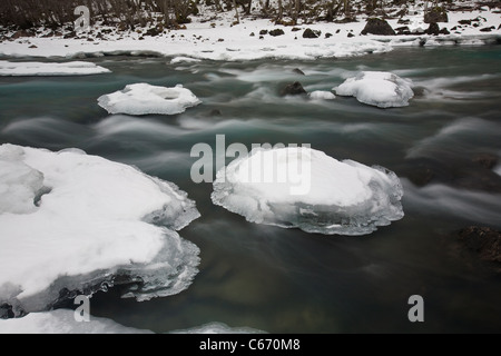 Rauma river in winter, Romsdalen valley, Rauma kommune, Møre og Romsdal, Norway. - Stock Photo