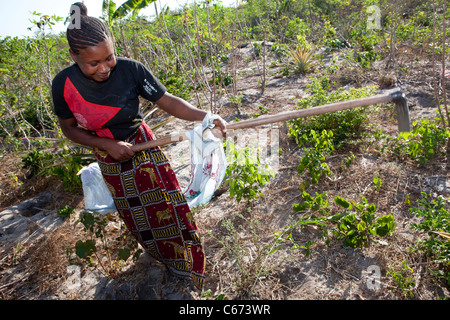 Zam Zam Juma (20) is a young victim of land-grabbing living in Tanzania, East Africa. - Stock Photo