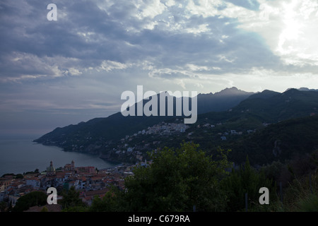 Italy, Amalfitana Coast, sunset on Vietri Sul Mare area - Stock Photo