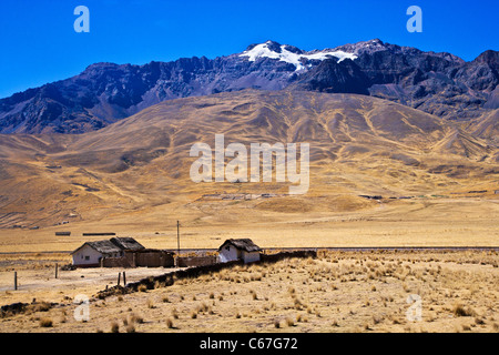A small homestead on the Altiplano or High Plain or Plateau of the Andes near Lake Titicaca in Peru, South America - Stock Photo