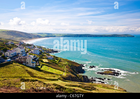 View over Woolacombe Bay towards Baggy Point, North Devon, England, UK - Stock Photo