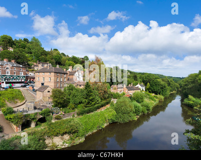 View over the River Severn from the Iron Bridge in the town of Ironbridge, Shropshire, England, UK - Stock Photo
