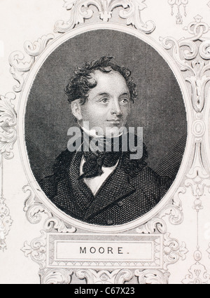 Thomas Moore, Irish poet and songwriter. 'The Last Rose of Summer' and other famous Irish songs around 1800-1825. - Stock Photo