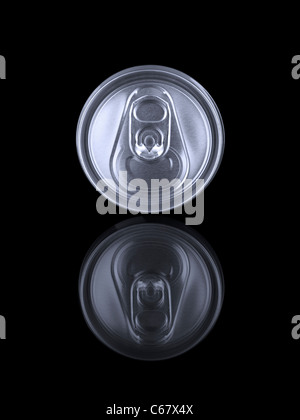 A beverage can and its reflection isolated on black. - Stock Photo