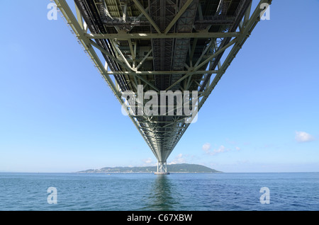 Akashi Kaikyo Bridge (Pearl Bridge) in Kobe, Japan. - Stock Photo