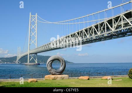 Akashi Kaikyo Bridge, also known as Pearl Bridge, is the longest suspension bridge in the world, located in Kobe, - Stock Photo