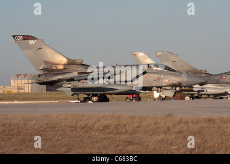 Royal Air Force Panavia Tornado GR4 military jet plane in Malta during operations over Libya, 29 July 2011 - Stock Photo
