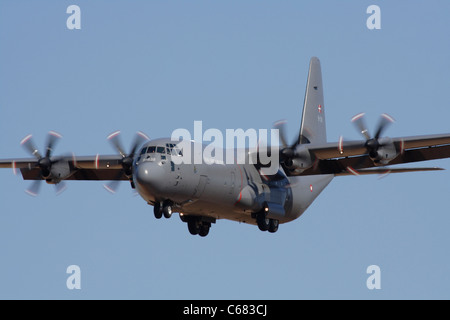 Royal Danish Air Force Lockheed Martin C-130J Hercules four-engine turboprop military transport plane. Close up - Stock Photo