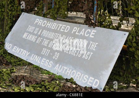 Sign Prohibited Place under the Official Secrets Act - Stock Photo