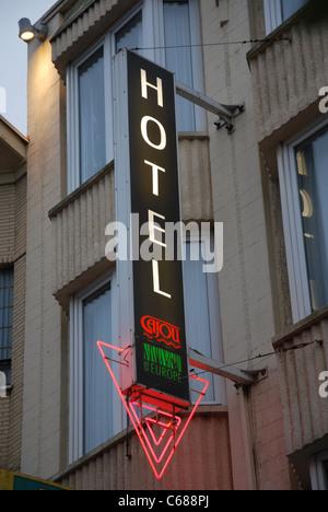 hotel sign De Panne Belgium Europe - Stock Photo