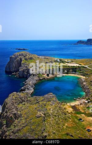View of Agios Pavlos ('Saint Paul') beach, next to Lindos village, from the Acropolis of Lindos, Rhodes island, - Stock Photo