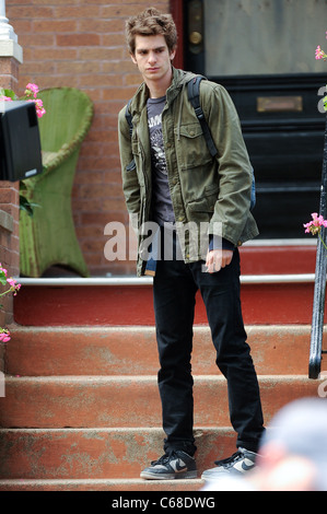 Andrew Garfield, films a scene at the AMAZING SPIDER-MAN movie set in Windsor Terrace out and about for CELEBRITY - Stock Photo