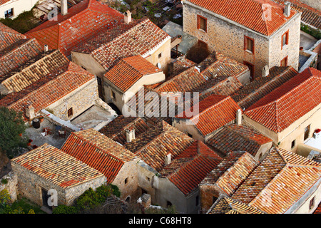 Rooftops of the medieval 'castletown' of Monemvasia (or 'Malvasia'), in Lakonia Prefecture, Peloponnese, Greece - Stock Photo