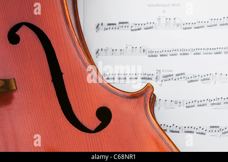 Close up of a violoncello showing the f-hole, with a music background.