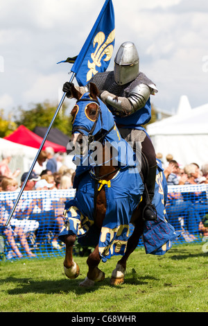 TV & film stuntman, JUSTIN PEARSON, performing with the spectacular Knights of the Damned jousting medieval display - Stock Photo