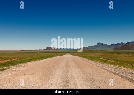 straight deserted gravel road in desert landscape, Namib-Naukluft National Park, Namibia, Africa - Stock Photo